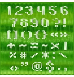 Knitted alphabet white bold sans serif vector image vector image