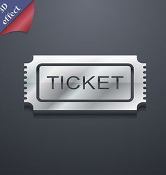 Ticket icon symbol 3D style Trendy modern design vector image