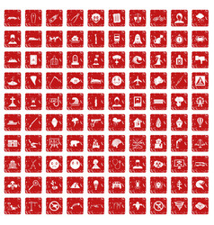 100 phobias icons set grunge red vector