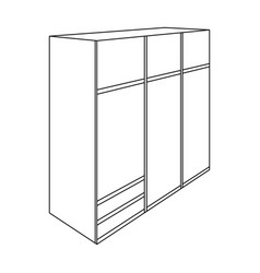 A large bedroom wardrobe with mirrow and lots of vector