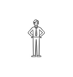 a man in a suit and a tie hand drawn sketch icon vector image