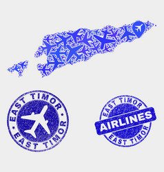 airlines collage east timor map and grunge vector image