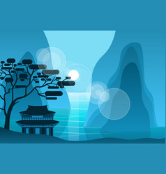 Asian temple in mountains in night on background vector