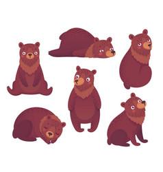 bear set hand drawn style vector image