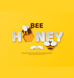 bee honey typographic design paper cut style vector image