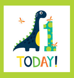 birthday greating card with cute dino vector image
