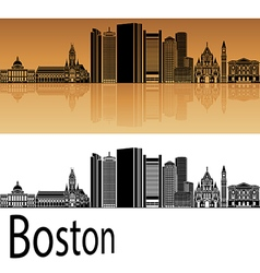 Boston skyline in orange vector