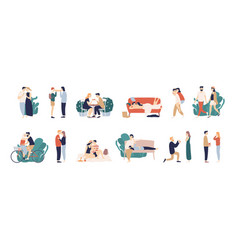 bundle of scenes with adorable romantic couple vector image