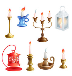 Candlestick candle lantern vintage vector