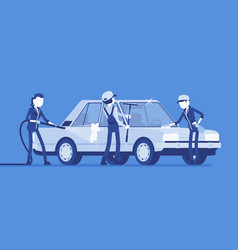 car hand wash full-service and young employees vector image