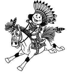 cartoon native indian boy on pony vector image