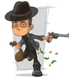 Cartoon serious criminal with gun vector