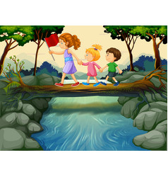 Children crossing river in the woods vector
