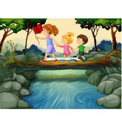 Children crossing river in woods vector