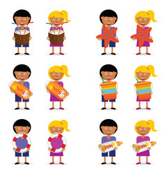 Children holding beach stuff vector
