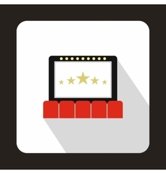 Cinema auditorium with screen and seats icon vector