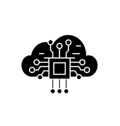 cloud computing black concept icon cloud vector image