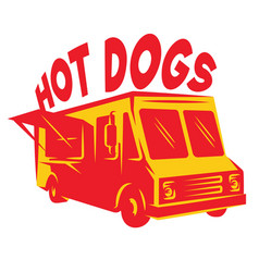 Color template van for delivery hot dog vector