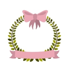 Colorful arch of leaves with pink bow and label vector