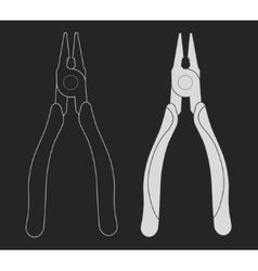 Construction rubber handle pliers icon Chalk vector