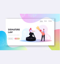 contract conclusion landing page template tiny vector image