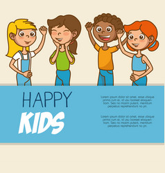 Cute colorful kids template vector