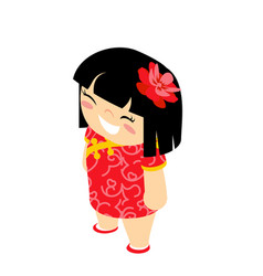 cute girl isometric traditional wear costume vector image
