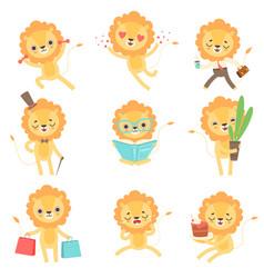 cute little lion set funny african animal cartoon vector image