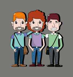 Cute men with hairstyle and casual clothes vector