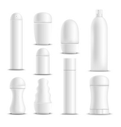 Deodorants white blank realistic set vector