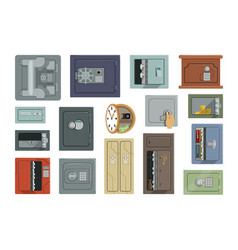 different types of safes set property security vector image