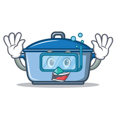 diving kitchen character cartoon style vector image