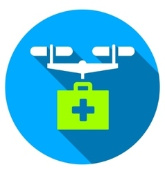 Drug Drone Delivery Flat Round Icon with Long vector image