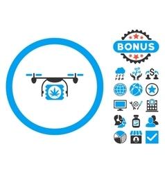 Drugs Drone Shipment Flat Icon with Bonus vector image