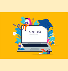 E-learning concept big laptop with a vector