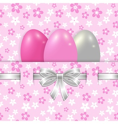 easter card template with bow pink vector image