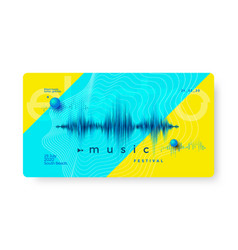 Electro music festival dynamic sound wave flyer vector