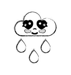 figure kawaii nice tender cloud raining vector image
