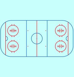 flat ice hockey field top view of ice hockey fiel vector image
