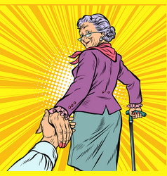 Follow me mature woman granny leads hand vector