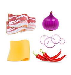 food flavors cheese chili peppers bacon vector image