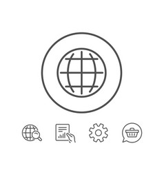 Globe line icon world or earth sign vector