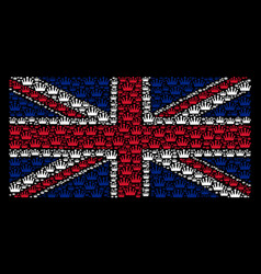 great britain flag mosaic of crown items vector image