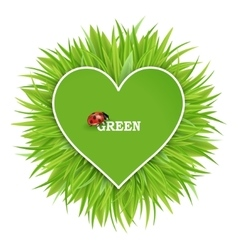 green banner with grass and hearts vector image