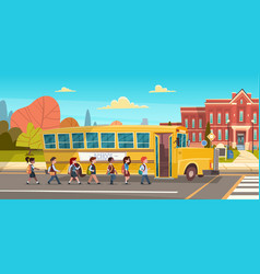 group of pupils mix race walking to school vector image