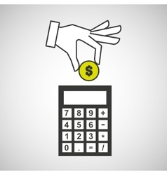 hand putting calculator finance money vector image