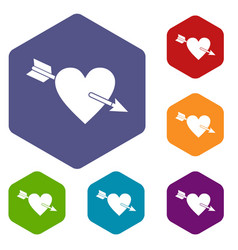 Heart with arrow icons set hexagon vector