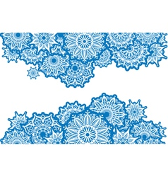 Horizontal Border of white round ornaments vector