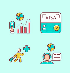 Immigration color icons set migration rate start vector