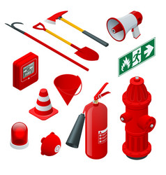 Isometric fire safety and protection flat icons vector